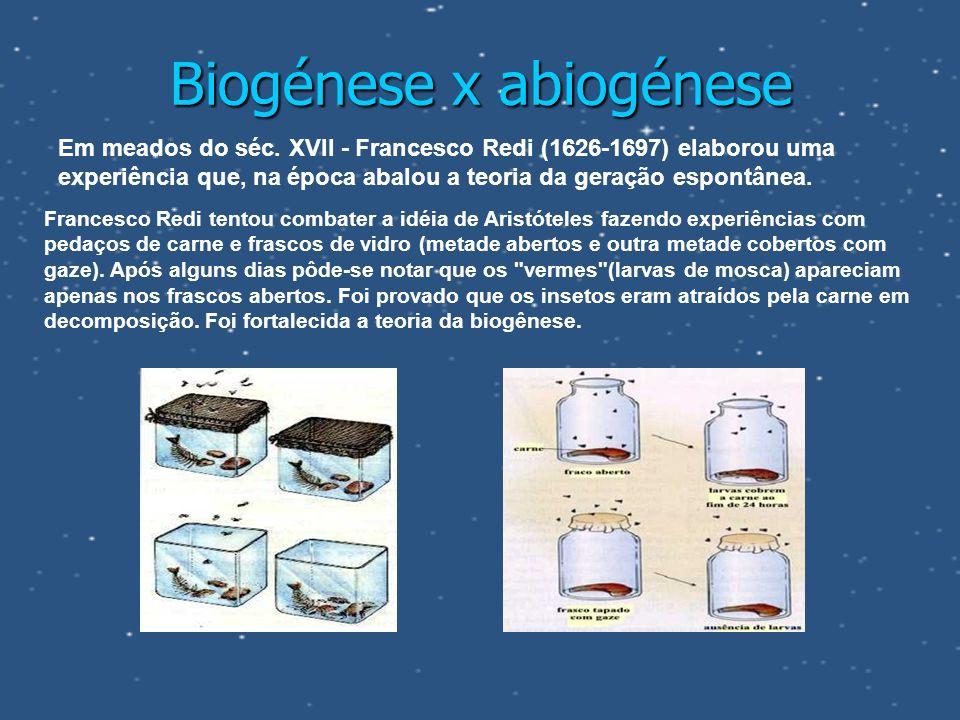 Biogénese x abiogénese