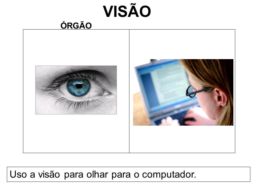 VISÃO ÓRGÃO Uso a visão para olhar para o computador.