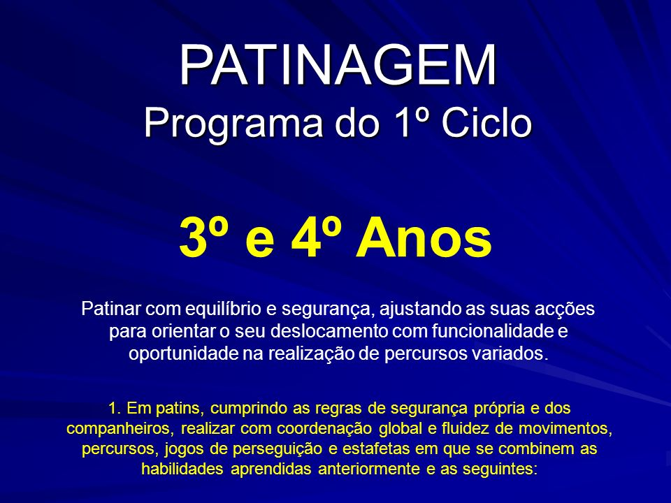 PATINAGEM Programa do 1º Ciclo