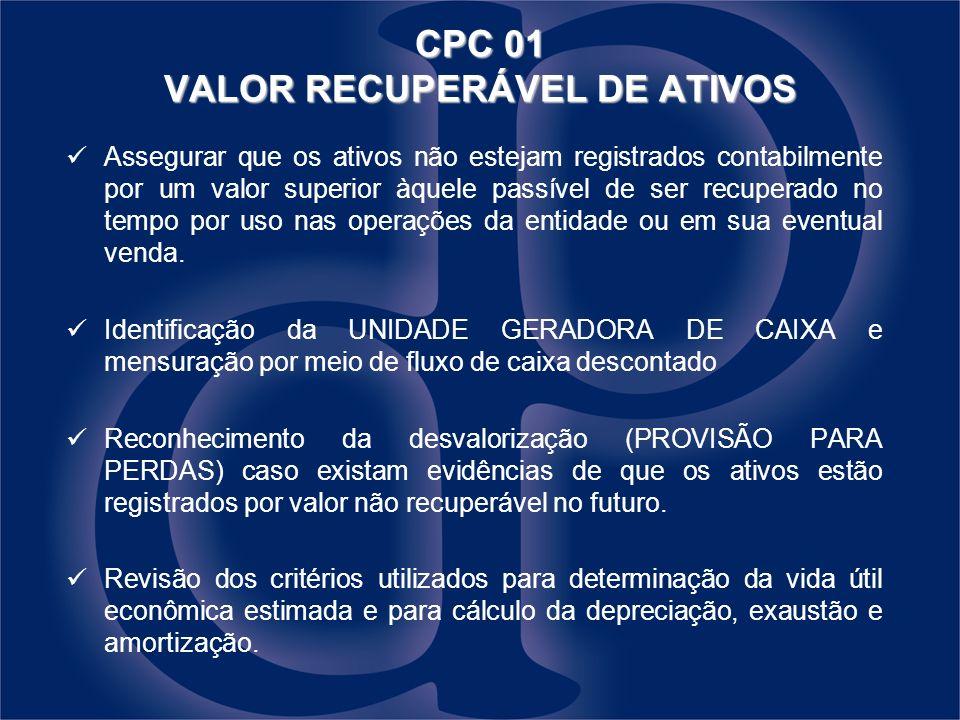 CPC 01 VALOR RECUPERÁVEL DE ATIVOS