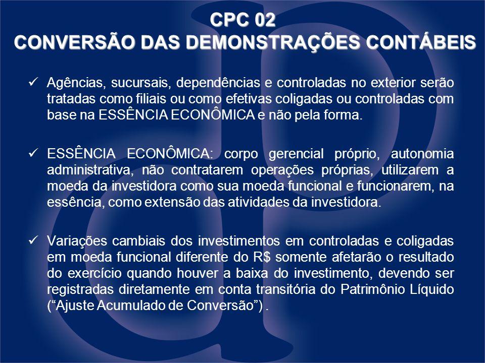 CPC 02 CONVERSÃO DAS DEMONSTRAÇÕES CONTÁBEIS