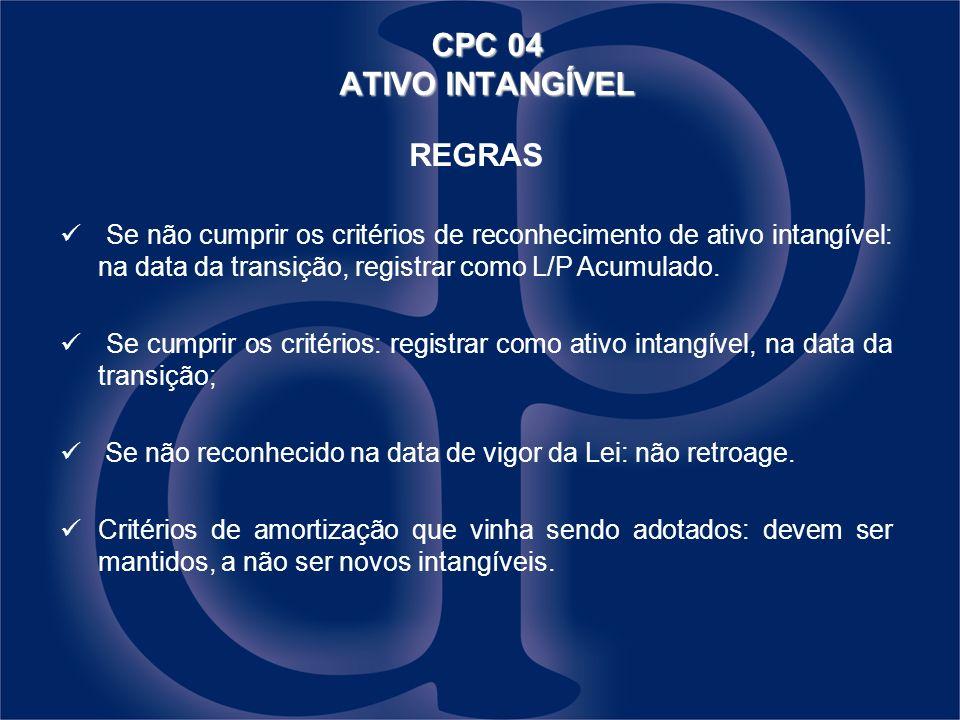 CPC 04 ATIVO INTANGÍVEL REGRAS