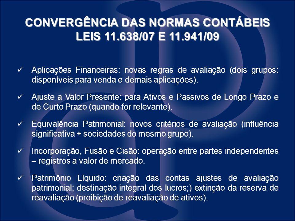 CONVERGÊNCIA DAS NORMAS CONTÁBEIS LEIS 11.638/07 E 11.941/09