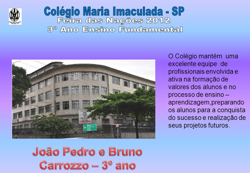 João Pedro e Bruno Carrozzo – 3º ano