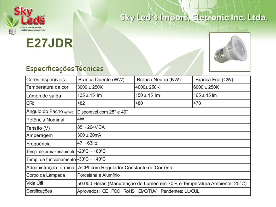 E27JDR Especificações Técnicas