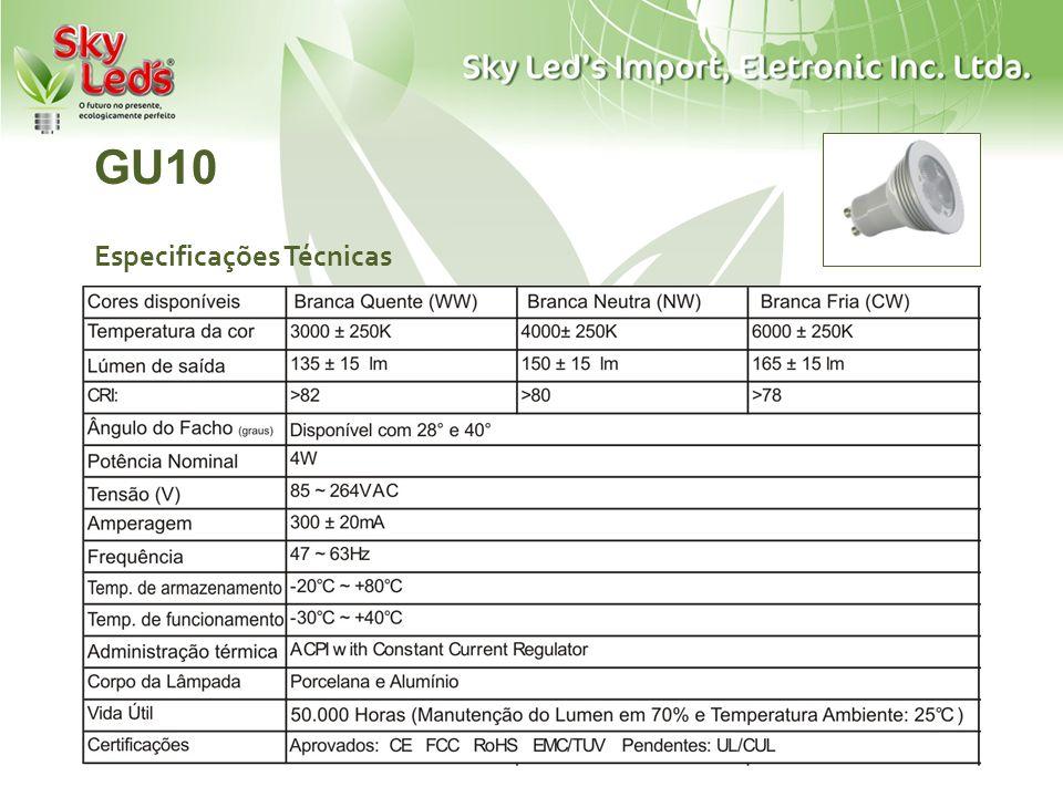 GU10 Especificações Técnicas