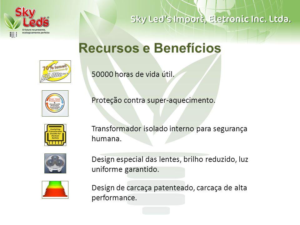 Recursos e Benefícios 50000 horas de vida útil.