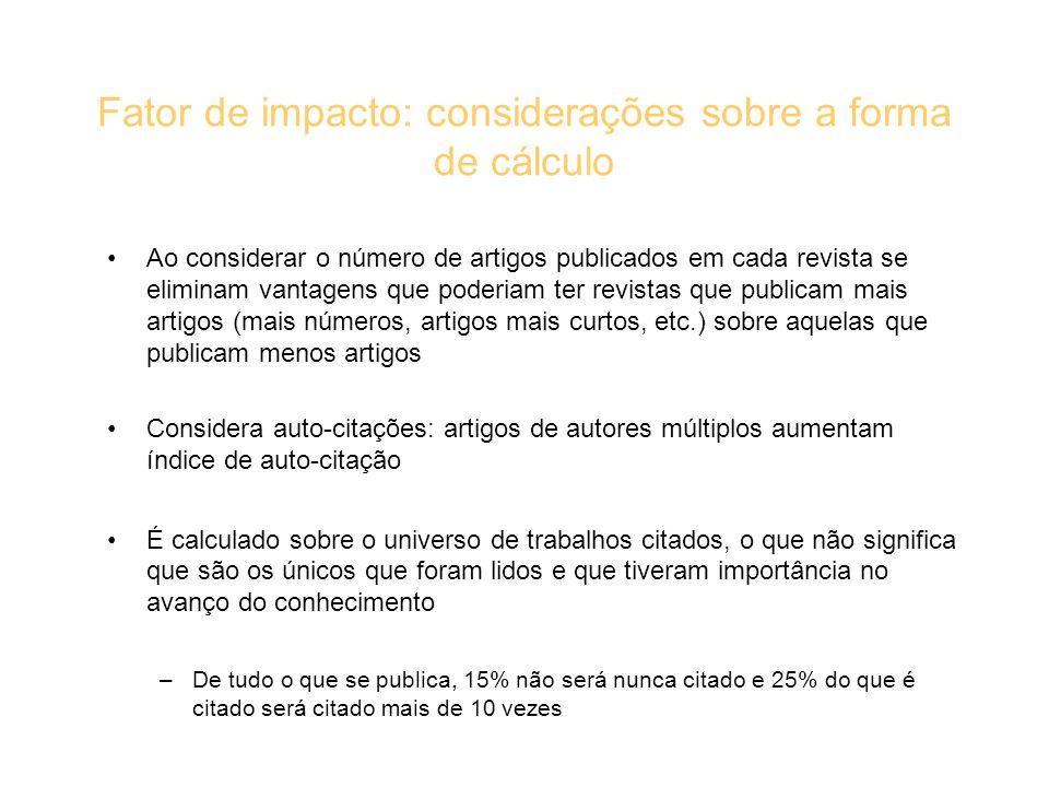 Fator de impacto: considerações sobre a forma de cálculo