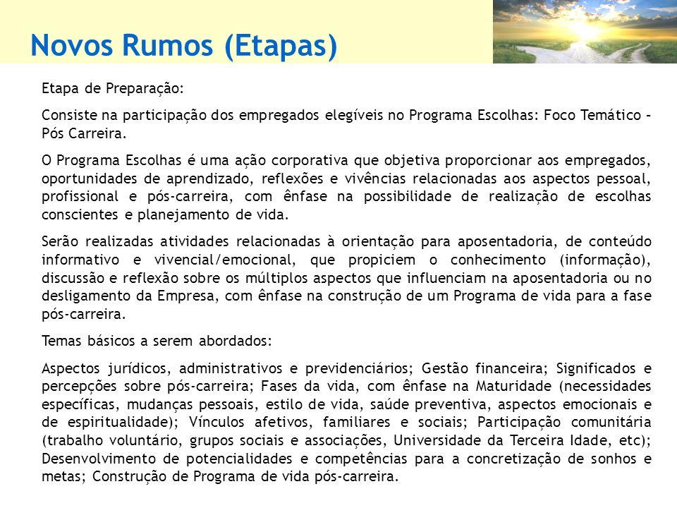 Novos Rumos (Etapas) Etapa de Preparação:
