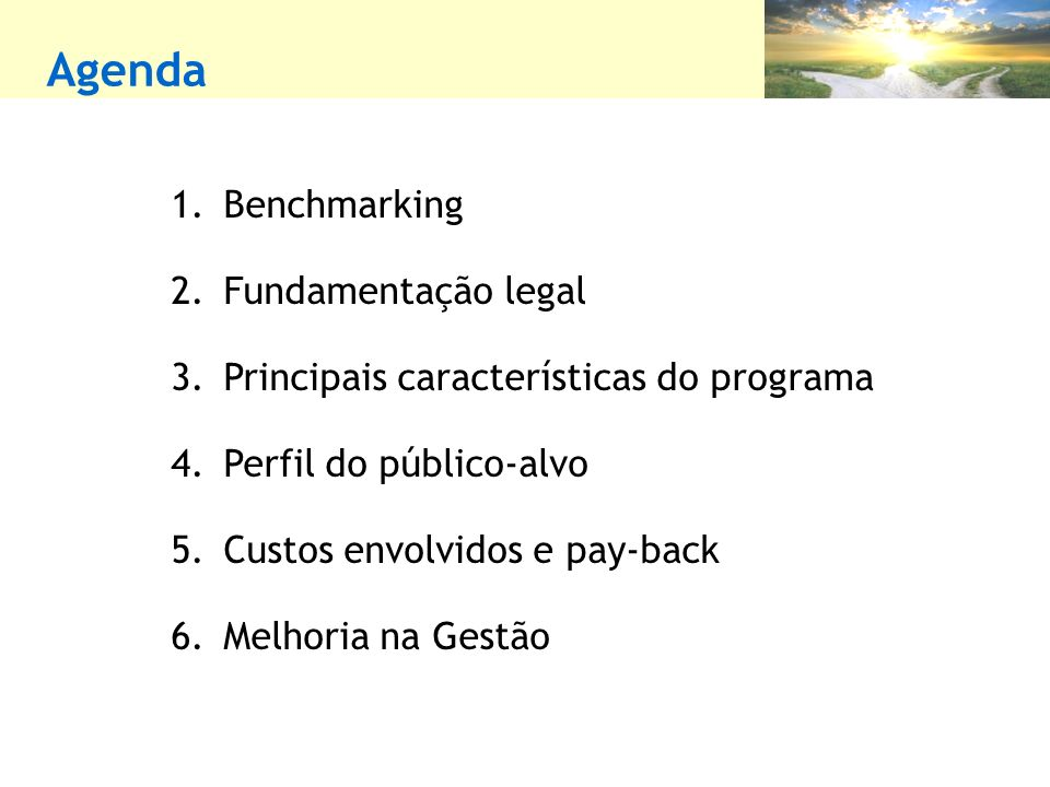 Agenda Benchmarking Fundamentação legal