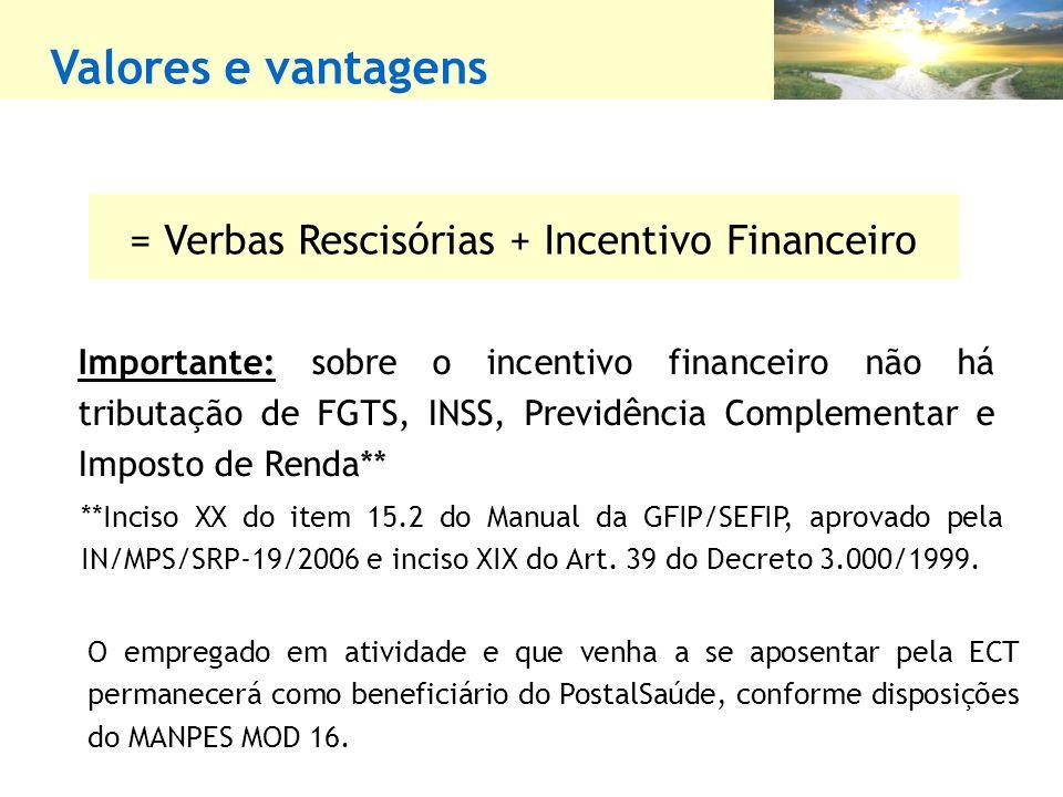 = Verbas Rescisórias + Incentivo Financeiro