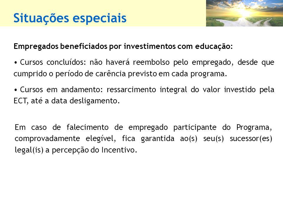 Situações especiais Empregados beneficiados por investimentos com educação: