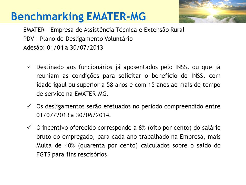 Benchmarking EMATER-MG