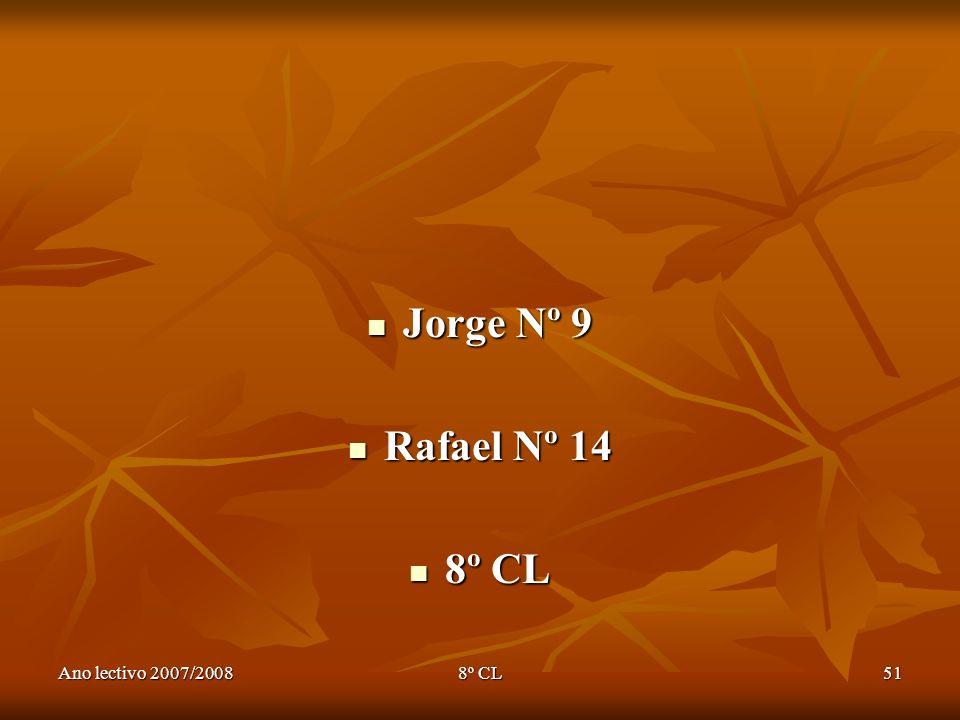 Jorge Nº 9 Rafael Nº 14 8º CL Ano lectivo 2007/2008 8º CL