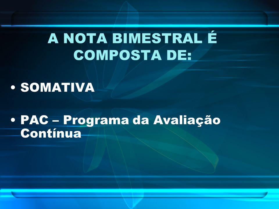 A NOTA BIMESTRAL É COMPOSTA DE: