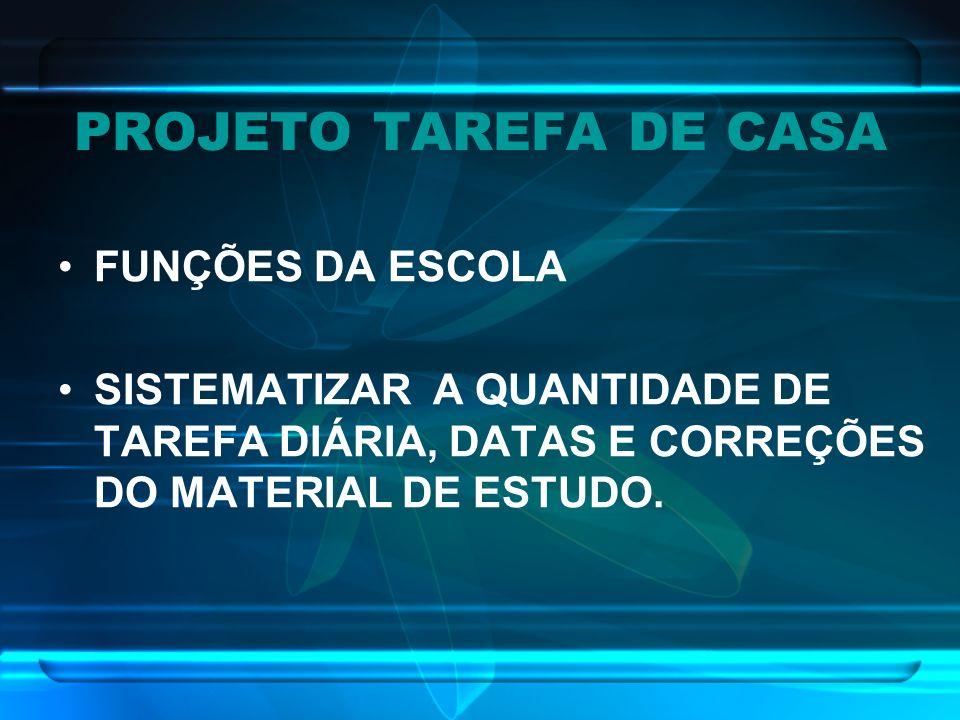 PROJETO TAREFA DE CASA FUNÇÕES DA ESCOLA