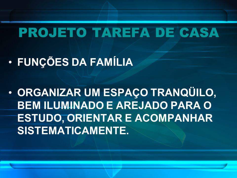 PROJETO TAREFA DE CASA FUNÇÕES DA FAMÍLIA