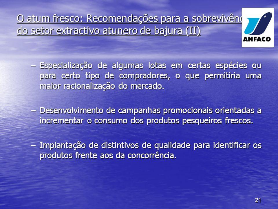 O atum fresco: Recomendações para a sobrevivência do setor extractivo atunero de bajura (II)