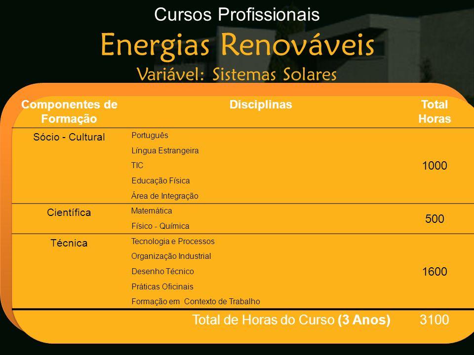 Cursos Profissionais Energias Renováveis Variável: Sistemas Solares