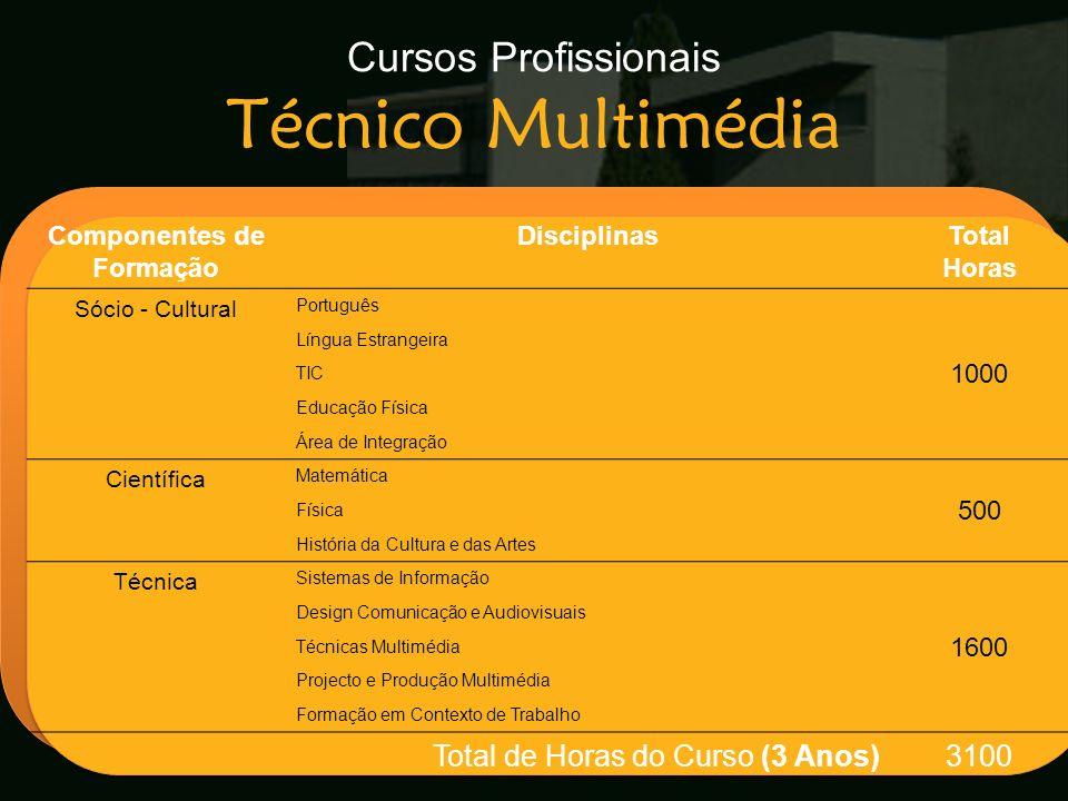Cursos Profissionais Técnico Multimédia