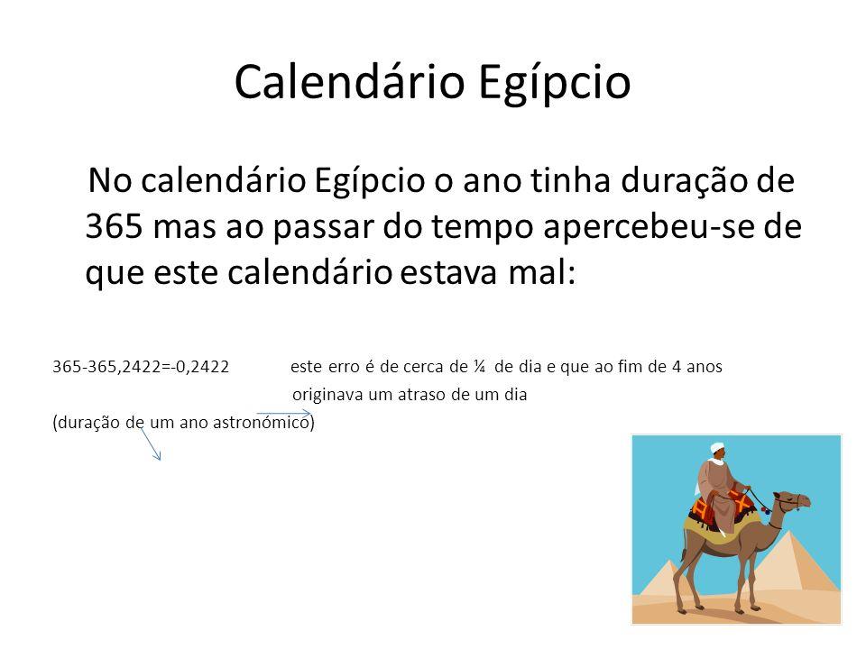 Calendário Egípcio No calendário Egípcio o ano tinha duração de 365 mas ao passar do tempo apercebeu-se de que este calendário estava mal: