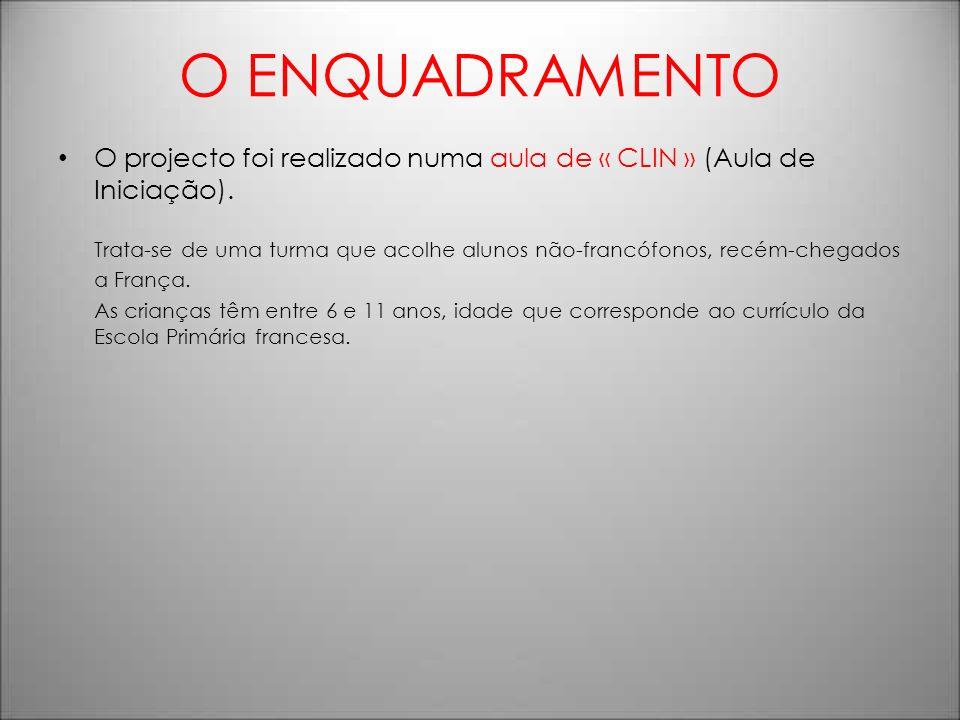 O ENQUADRAMENTO O projecto foi realizado numa aula de « CLIN » (Aula de Iniciação).