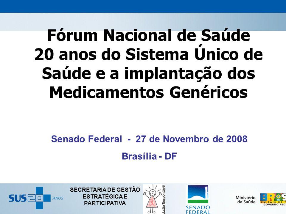 Fórum Nacional de Saúde 20 anos do Sistema Único de Saúde e a implantação dos Medicamentos Genéricos