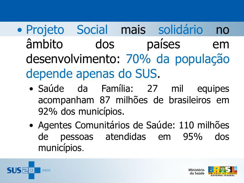 Projeto Social mais solidário no âmbito dos países em desenvolvimento: 70% da população depende apenas do SUS.