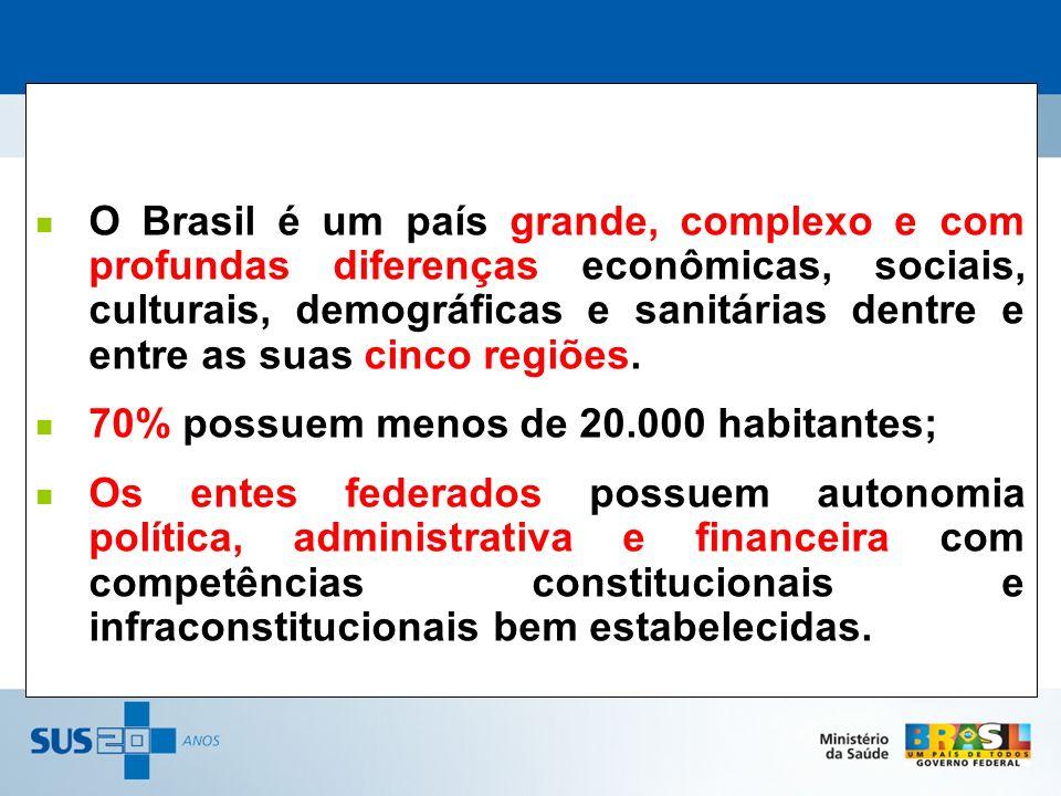O Brasil é um país grande, complexo e com profundas diferenças econômicas, sociais, culturais, demográficas e sanitárias dentre e entre as suas cinco regiões.