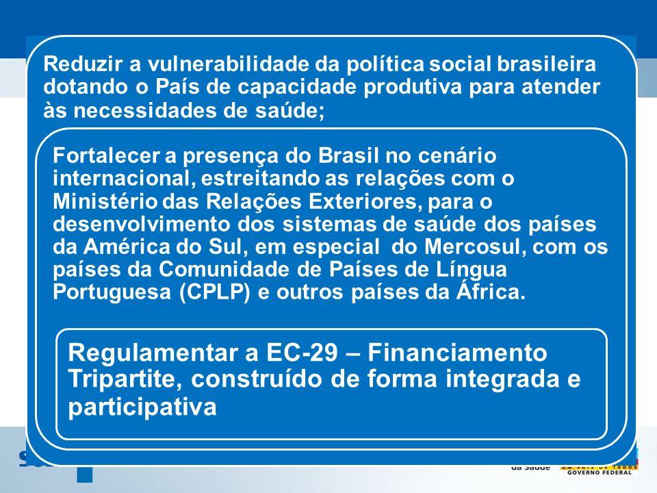 Reduzir a vulnerabilidade da política social brasileira dotando o País de capacidade produtiva para atender às necessidades de saúde;