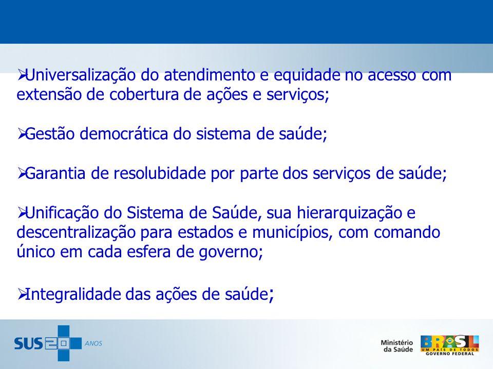 Universalização do atendimento e equidade no acesso com extensão de cobertura de ações e serviços;