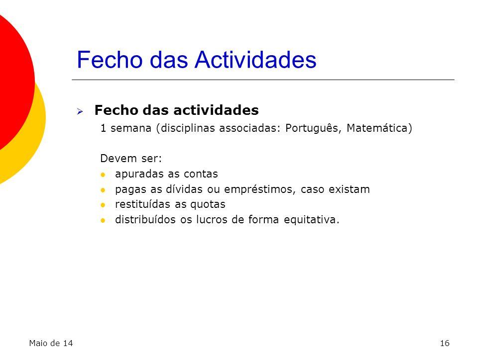 Fecho das Actividades Fecho das actividades