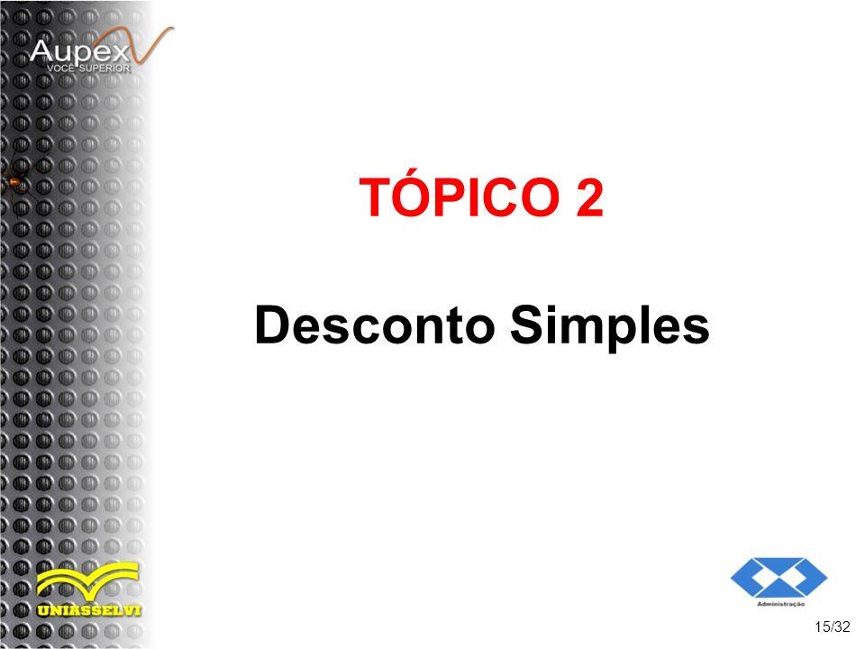 TÓPICO 2 Desconto Simples