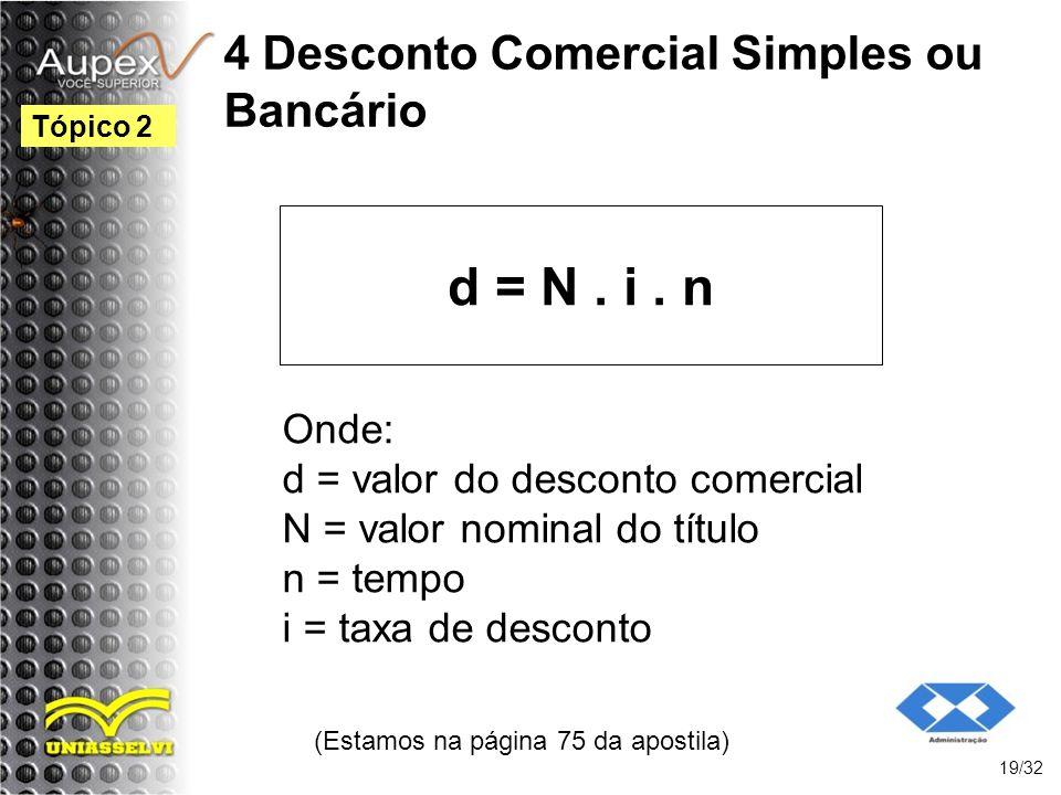 4 Desconto Comercial Simples ou Bancário