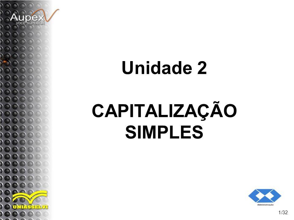 Unidade 2 CAPITALIZAÇÃO SIMPLES
