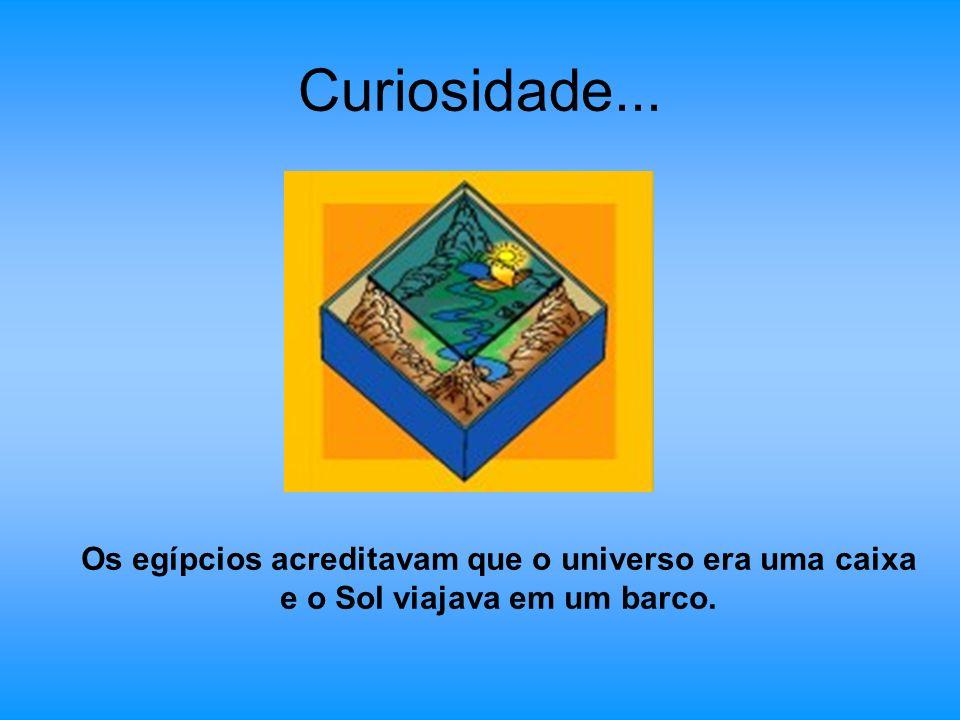 Curiosidade... Os egípcios acreditavam que o universo era uma caixa e o Sol viajava em um barco.