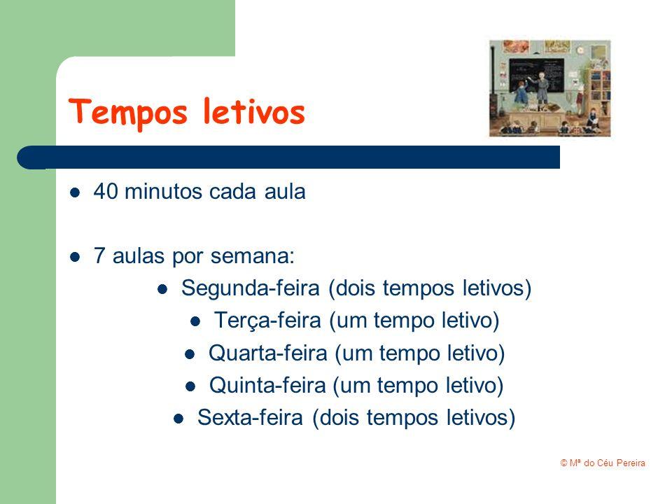 Tempos letivos 40 minutos cada aula 7 aulas por semana: