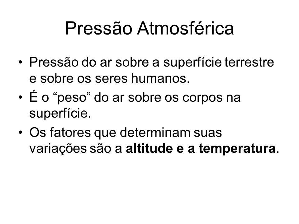 Pressão Atmosférica Pressão do ar sobre a superfície terrestre e sobre os seres humanos. É o peso do ar sobre os corpos na superfície.