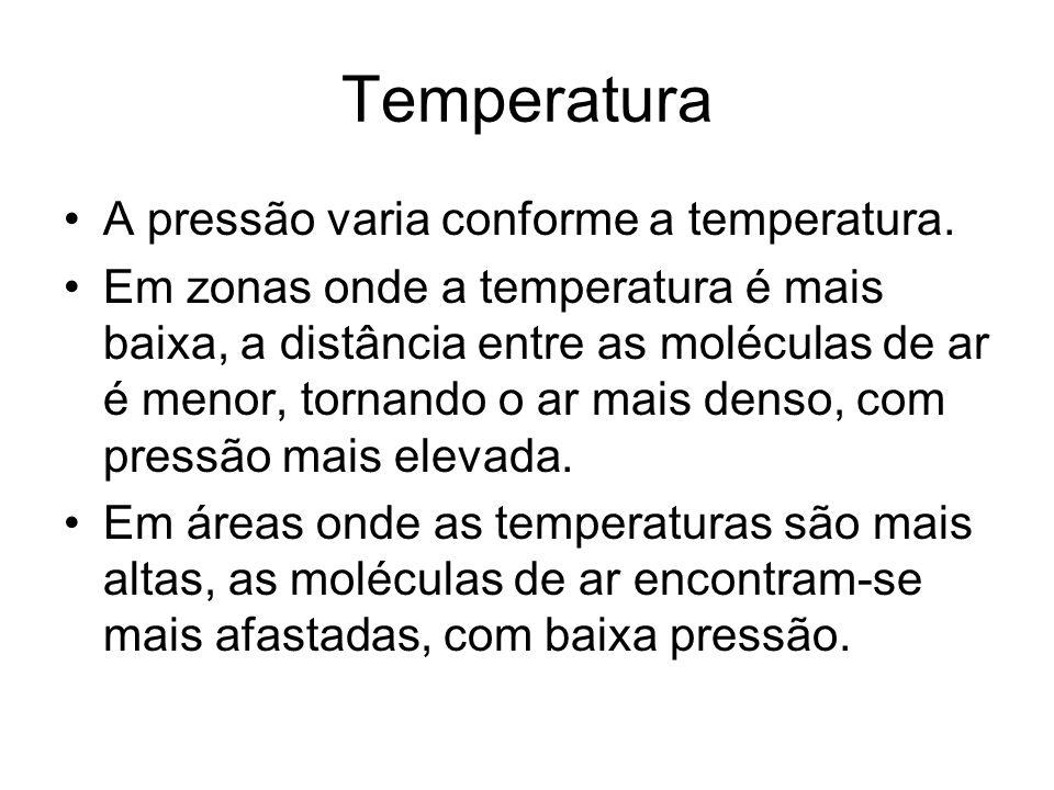 Temperatura A pressão varia conforme a temperatura.