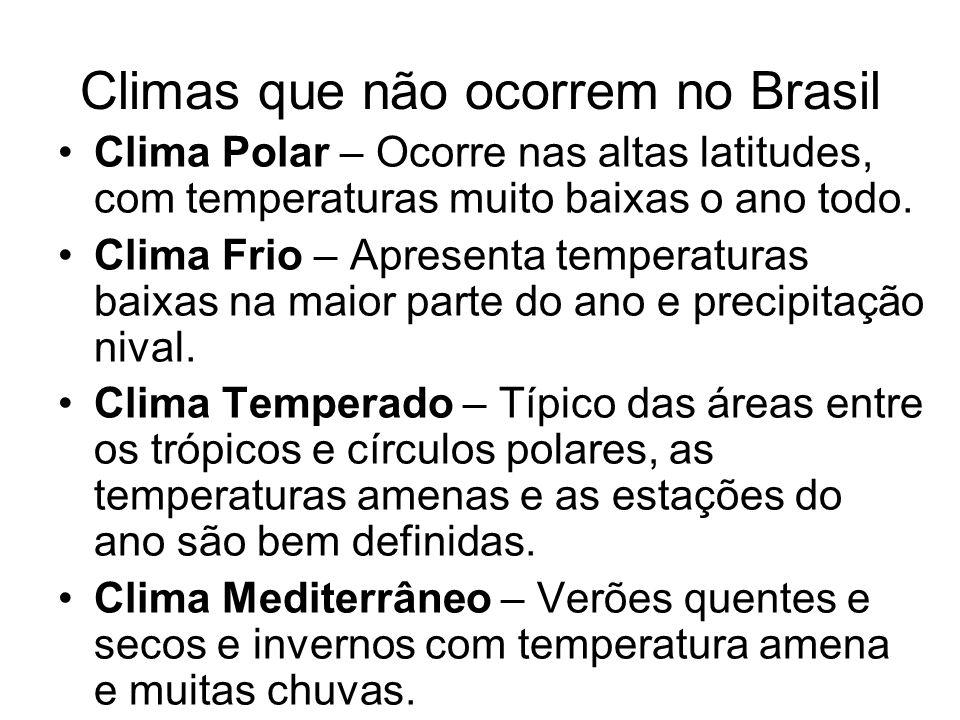 Climas que não ocorrem no Brasil