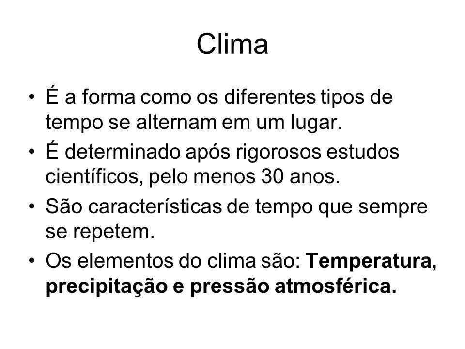 Clima É a forma como os diferentes tipos de tempo se alternam em um lugar. É determinado após rigorosos estudos científicos, pelo menos 30 anos.