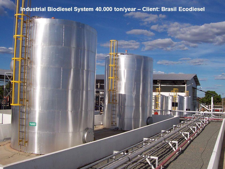 Industrial Biodiesel System 40.000 ton/year – Client: Brasil Ecodiesel