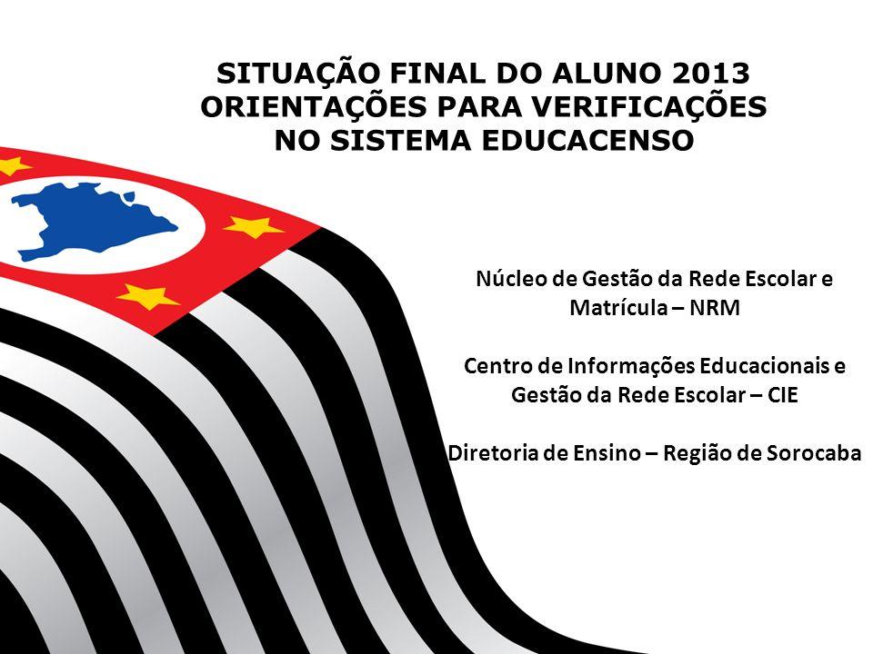 SITUAÇÃO FINAL DO ALUNO 2013 ORIENTAÇÕES PARA VERIFICAÇÕES NO SISTEMA EDUCACENSO