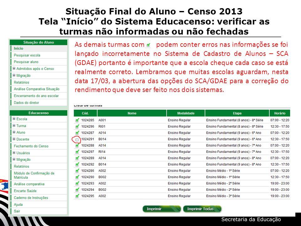 Situação Final do Aluno – Censo 2013