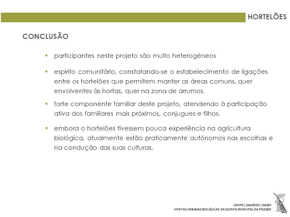 HORTELÕES CONCLUSÃO participantes neste projeto são muito heterogéneos