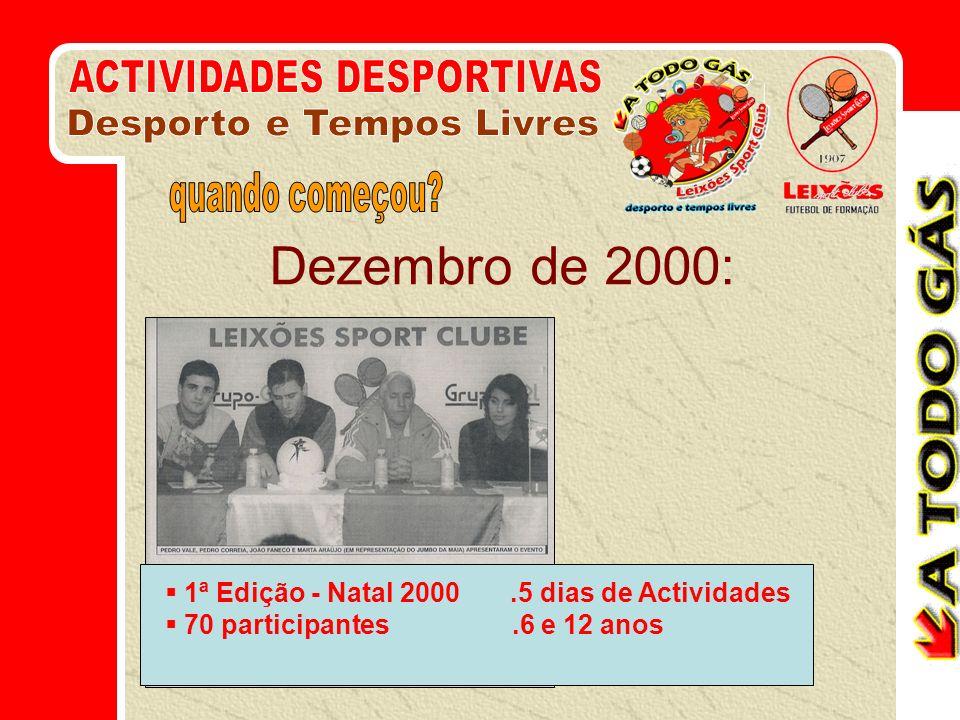 Dezembro de 2000: ACTIVIDADES DESPORTIVAS Desporto e Tempos Livres