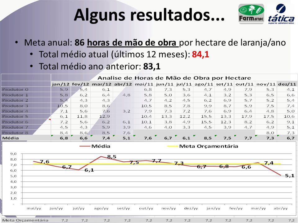 Alguns resultados... Meta anual: 86 horas de mão de obra por hectare de laranja/ano. Total médio atual (últimos 12 meses): 84,1.