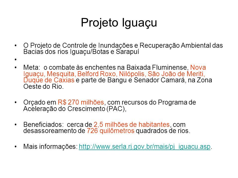 Projeto Iguaçu O Projeto de Controle de Inundações e Recuperação Ambiental das Bacias dos rios Iguaçu/Botas e Sarapuí.