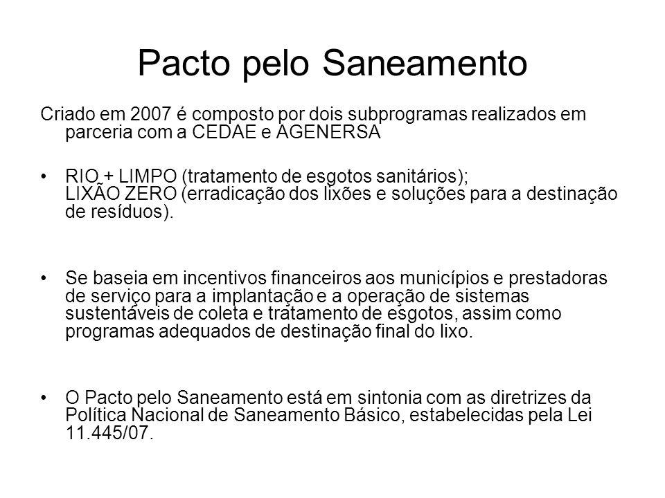 Pacto pelo Saneamento Criado em 2007 é composto por dois subprogramas realizados em parceria com a CEDAE e AGENERSA.