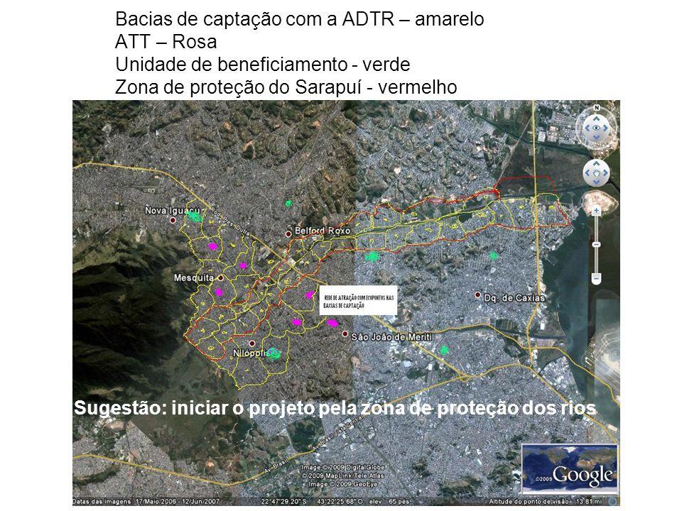 Bacias de captação com a ADTR – amarelo ATT – Rosa Unidade de beneficiamento - verde Zona de proteção do Sarapuí - vermelho